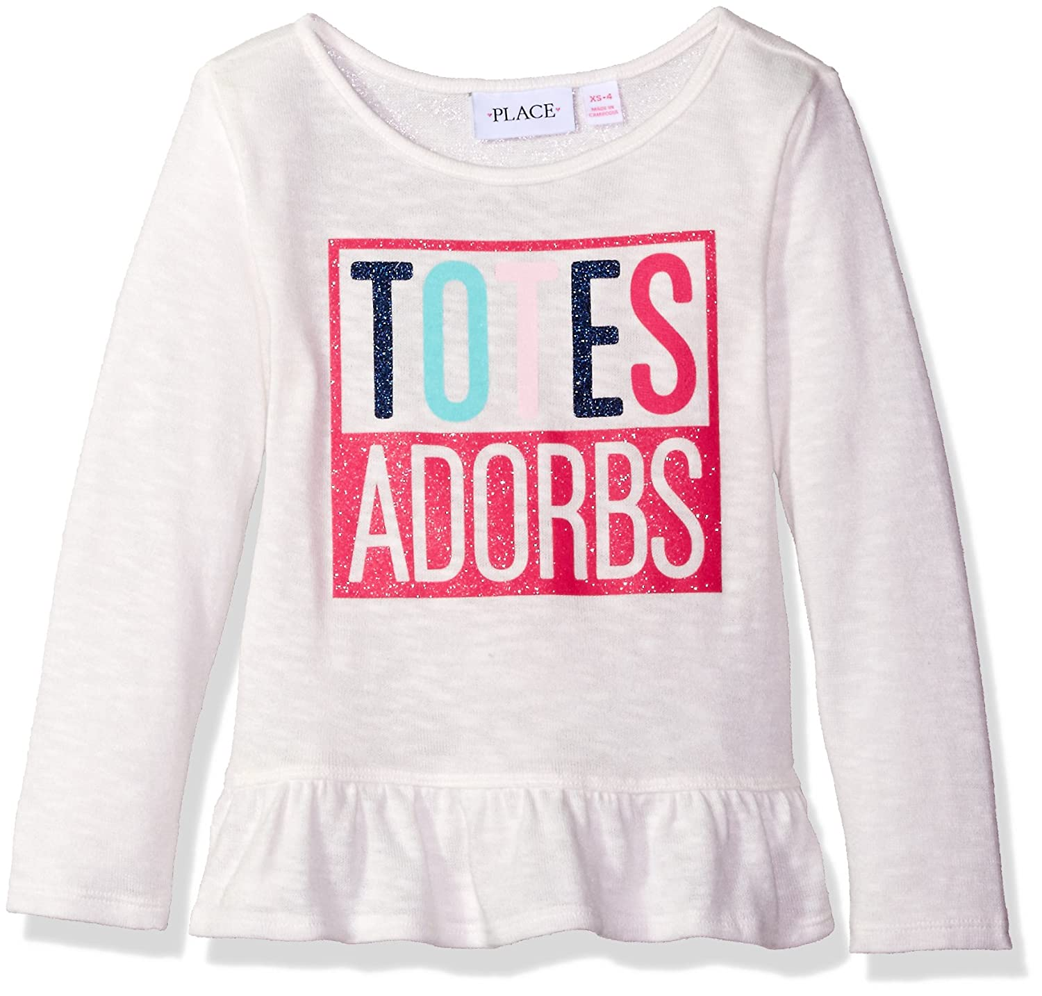 The Children's Place Girls' Peplum Graphic Knit Long Sleeve Top