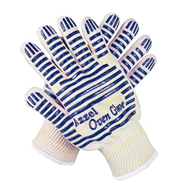 Azzel Glove Resistant Oven Mitts with Fingers,EN407 Certified Extreme Heat Up to 932°F, Blue