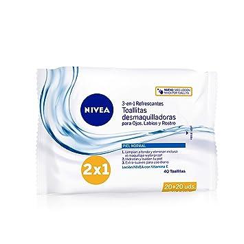 NIVEA Toallitas Desmaquilladoras Refrescantes, toallitas desmaquillantes para piel normal y mixta, toallitas húmedas para rostro, ojos, labios y ...