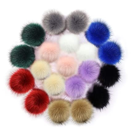 dfeff1090ed Image Unavailable. Image not available for. Color  20 PCS Faux Fox Fur Pom  Poms Ball for Knitting Hat