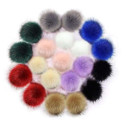 20 pz in finta pelliccia di volpe pompon palla per lavoro a maglia cappello 2c235fa098cd