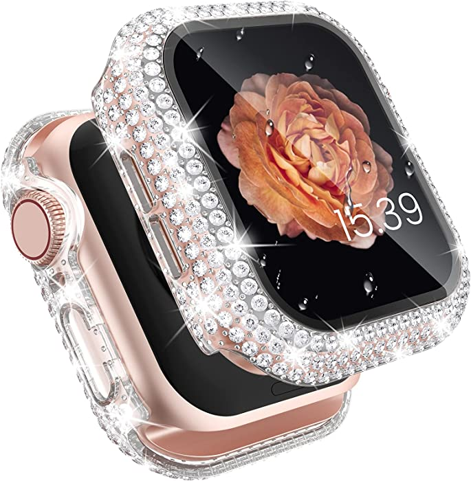 Tensea for Apple Watch Case with Screen Protector 44mm 40mm 38mm 42mm Accessories, SE Series 6 5 4 3 2 1 iWatch Bling Diamond Face Cover Built-in Tempered Glass Film, Protective PC Bumper Women Girl
