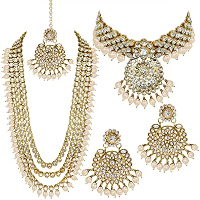 8cb81322acd8e PEORA Traditional 18K Gold Plated Kundan Bead Necklace Jewellery Set for  Women Girls