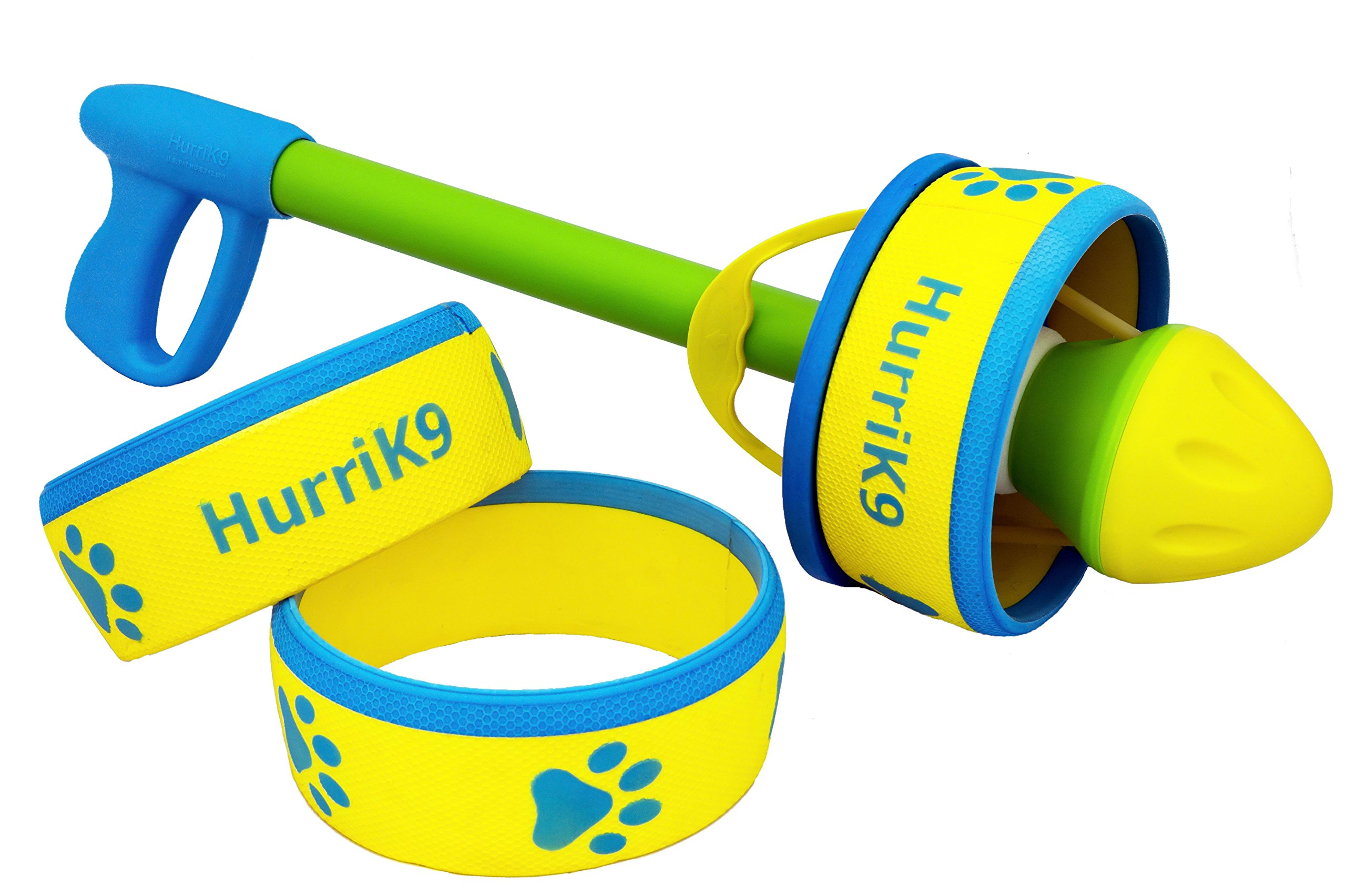 HurriK9 Foot Flying Ring for Dogs Starter Pack, Launcher Plus 3 Rings