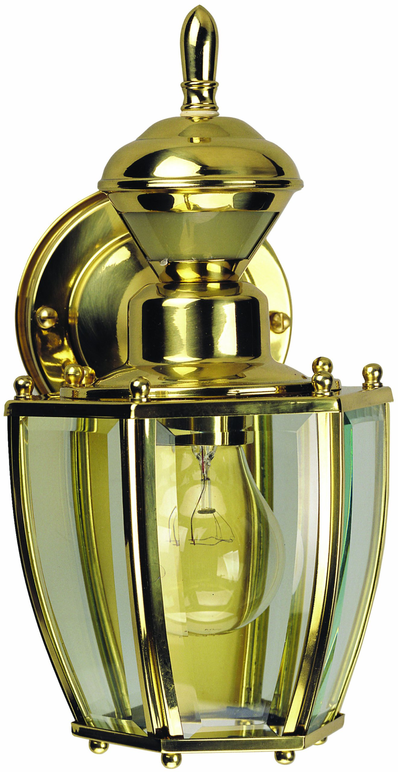 Heath Zenith HZ-4170-PB Motion-Activated Six-Sided Carriage Light, Polished Brass with Beveled Glass