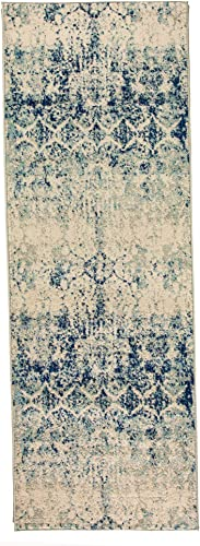 Super Area Rugs 2 7 X 7 6 Modern Faded Area Rug Abstract Hallway Carpet, Ivory, Gray Blue