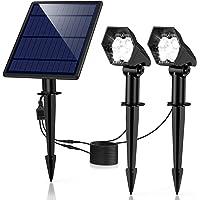 Luces Solares para Exterior, Lámparas Solares con 3 modos luminosidad, Focos LED Exterior Impermeable IP65, Angular de Ajuste Foco, Proyector Solar Exterior Jardin para Patio, Césped, Valla,Pasillo