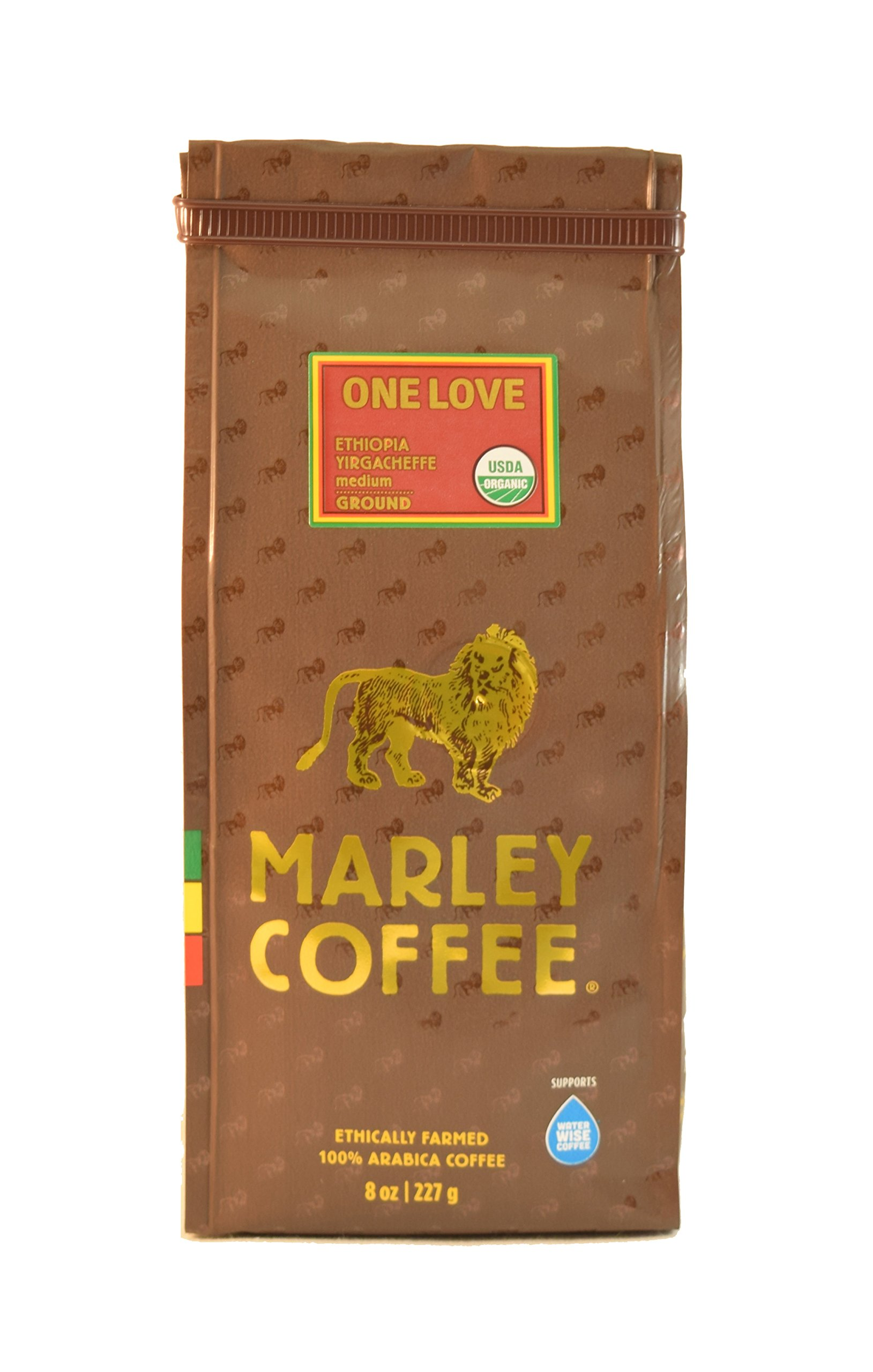 Marley Coffee, Organic One Love, Ethiopian YirgaCheffe, Ground Coffee, 8 Ounce