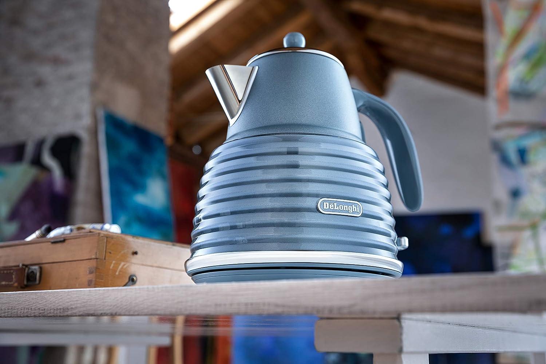 De'Longhi Scolpito Kettle,1.5 liters, 360° swivel base, Stainless steel, KBZS3001.AZ, Mineral Blue Mineral Blue
