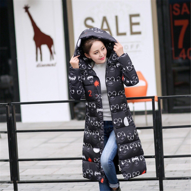 Feilongzaitianba Wadded Cotton Jacket Women Winter Coat Female Fashion Warm Parkas Hooded Women'S Down Jacket Casual Coat Plus Size 3Xl C2381 Glasses Black Xl by Feilongzaitianba