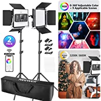 Neewer 2 Packs 480 RGB Led Light with APP Control, Photography Video Lighting Kit with Stands and Bag, 480 SMD LEDs…