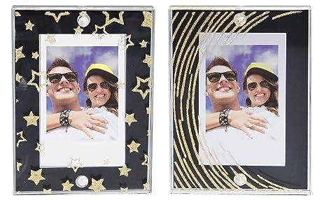 fujifilm instax mini magnetic frames black wgold stars 2pk - Mini Gold Frames