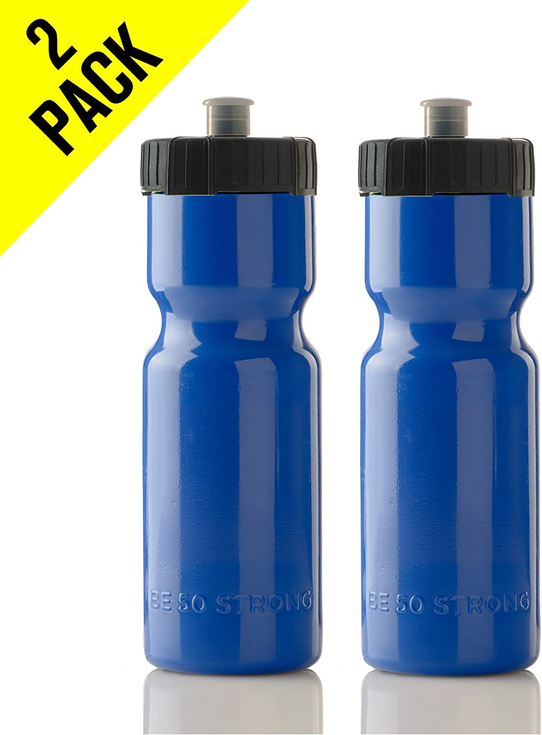 Top Rack Dishwasher Safe Great for Adults /& Kids 22 oz 50 Strong Sports Squeeze Water Bottle 2 Pack Bottles Fit in Bike Cages USA Made BPA Free Easy Open Push//Pull Cap