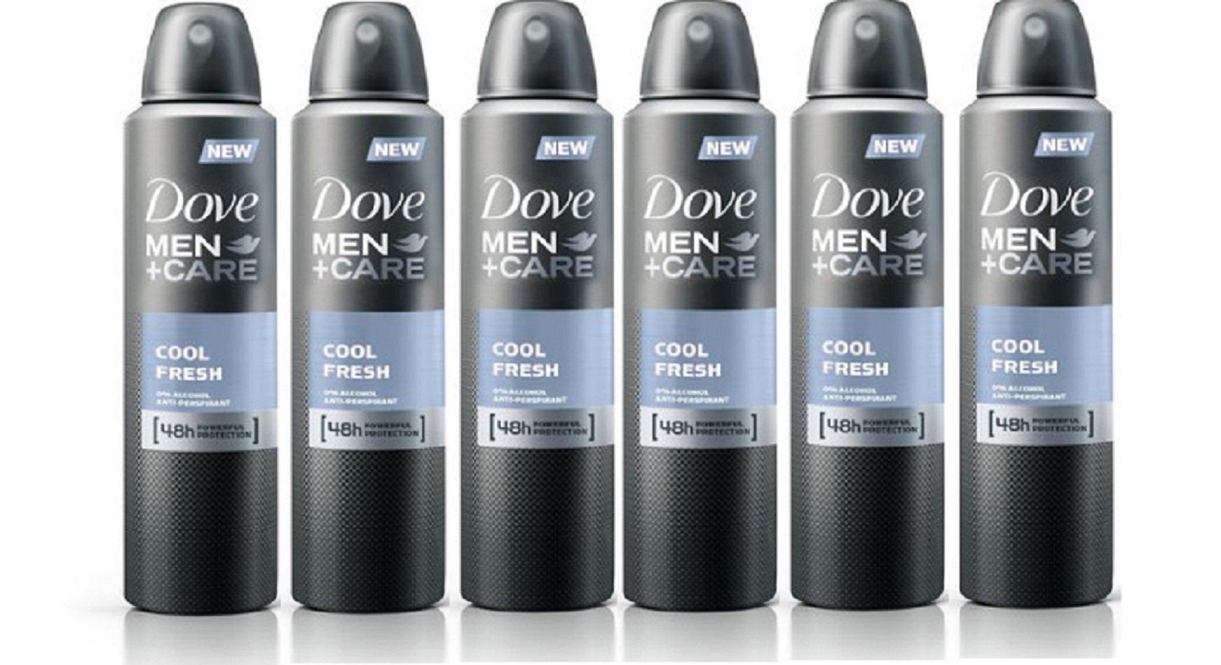 Set of 6 Dove Men + Care Cool Fresh Spray Deodorant & Anti-Perspirant 150ml / 5.07 Oz