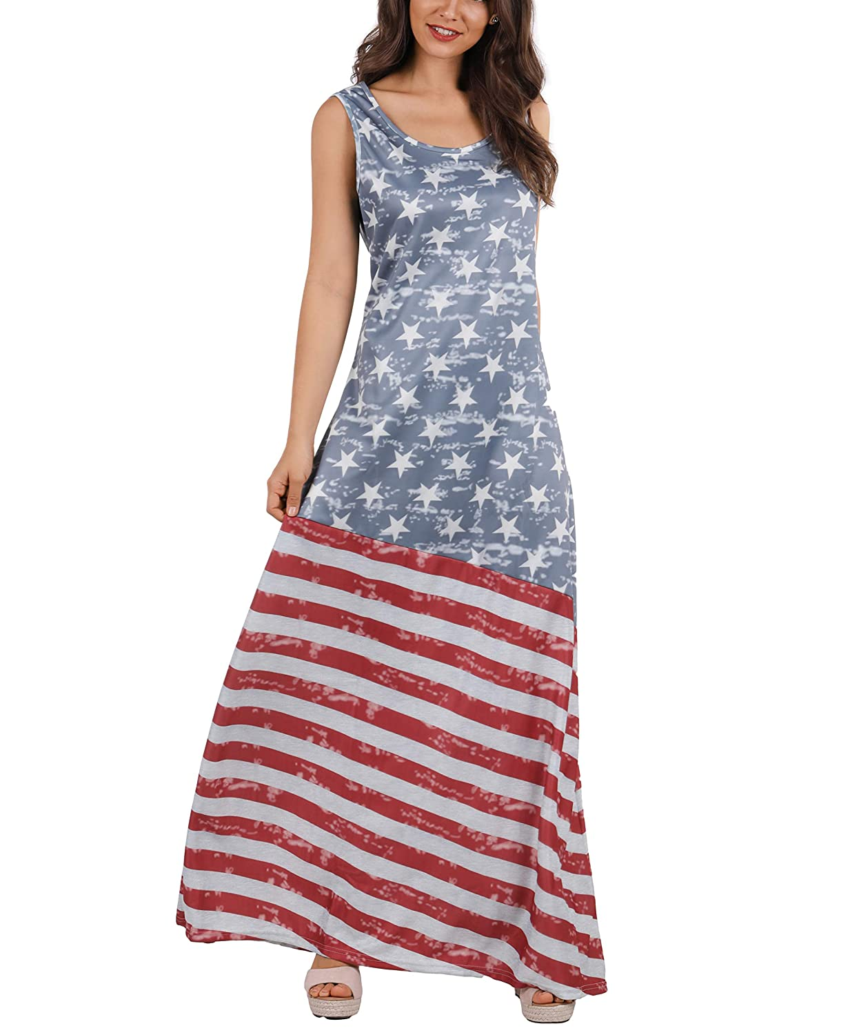 0cfa1f9126a Nulibenna Women s Summer Beach Sleeveless Tank Dress Strapless American Flag  Print Maxi Dress at Amazon Women s Clothing store