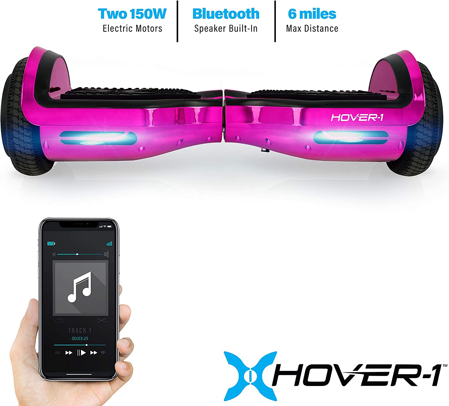 Hover-1 Chrome Electric Hoverboard Scooter Pink - 1