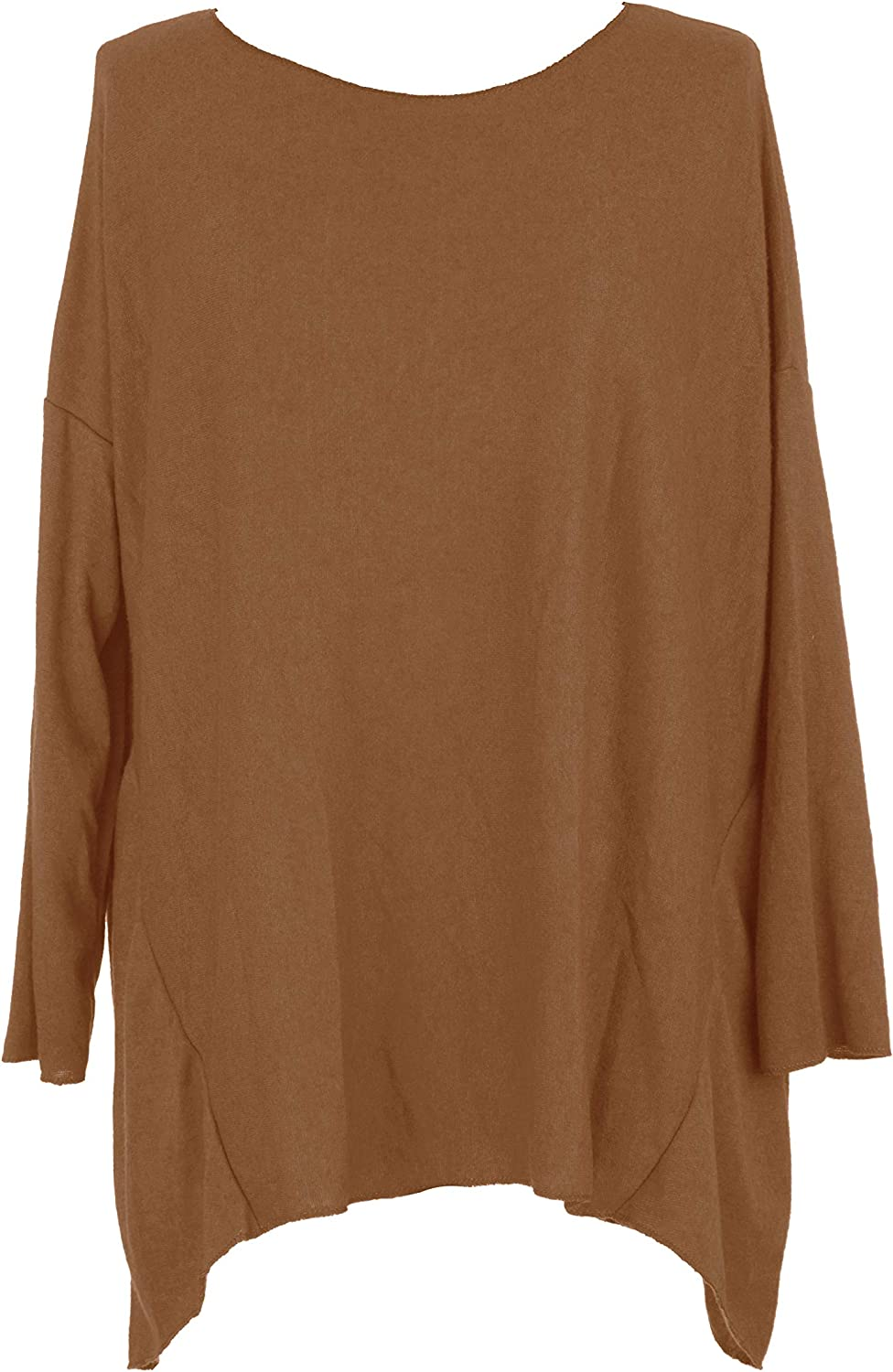 TEXTURE Ladies Womens Italian Lagenlook Long Sleeves Soft Knit Jumper Sweater Tunic Top One Size Plus