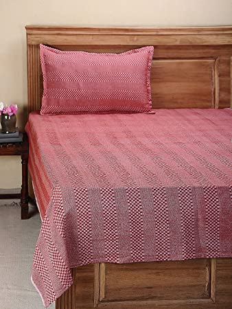 Dhrohar Classy Hand Woven Cotton Single Bed Cover with 1 Pillow Cover - Red