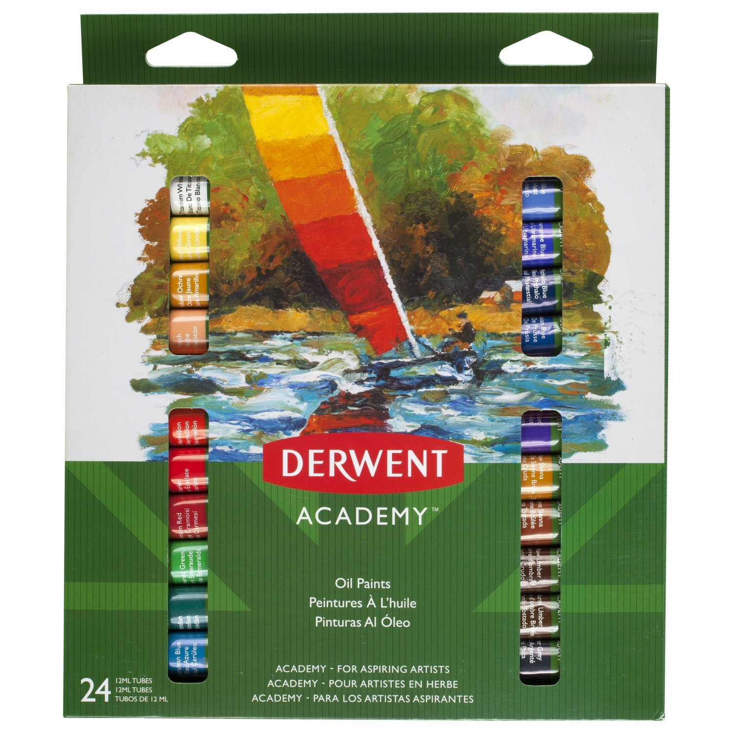 Derwent Academy Oil Paints, 12 ml, Set of 24, High Quality, 98224