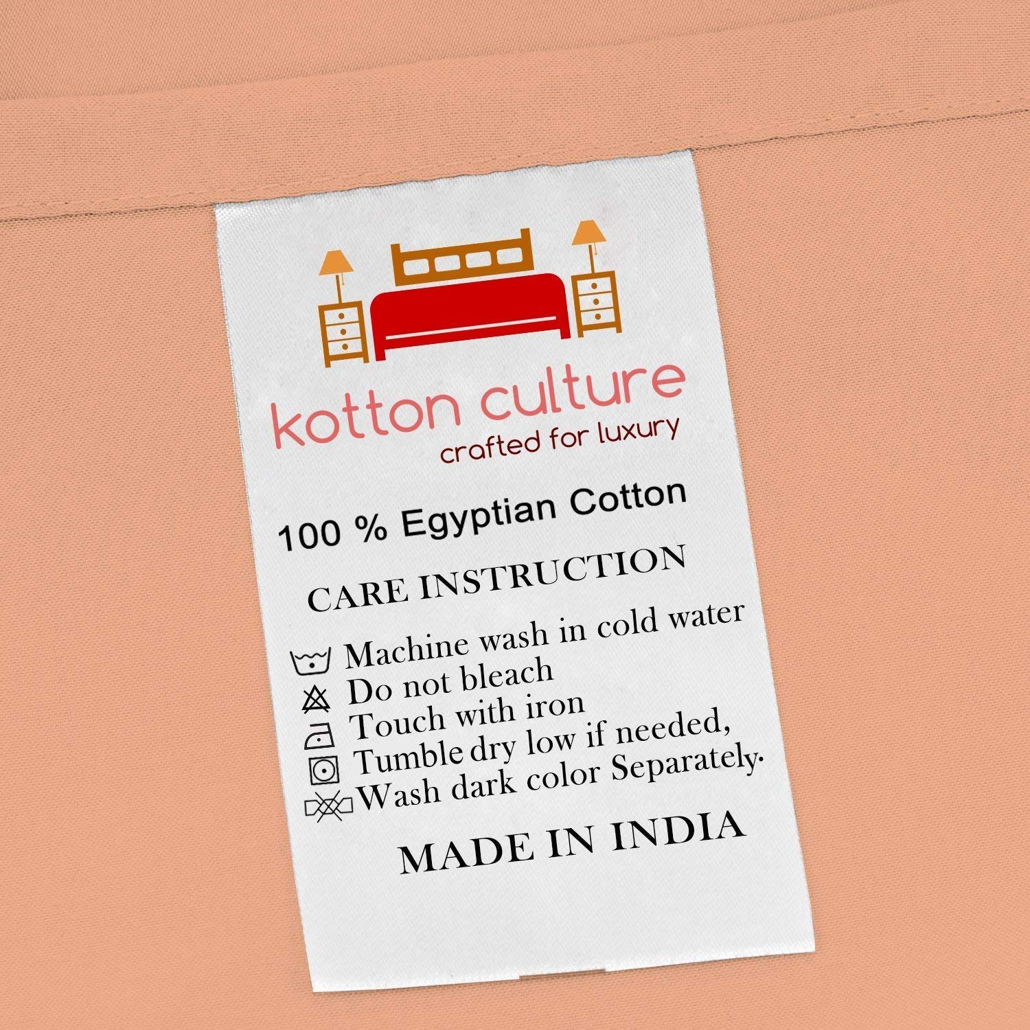 Kotton Culture Premium Duvet Cover 100% Egyptian Cotton 600 Thread Count with Zipper & Corner Ties Luxurious Hotel Collection (Oversized King, Peach) by Kotton Culture (Image #3)