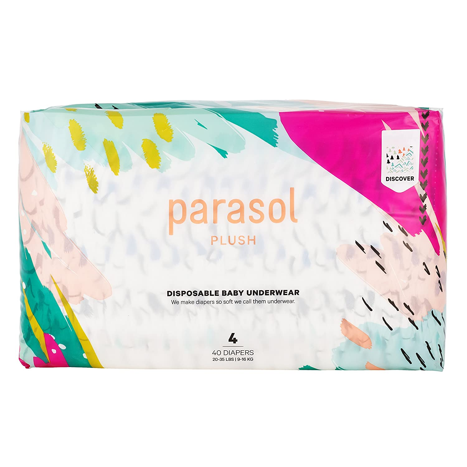 35 Count Parasol Plush Baby Diaper Discover Collection Size 5