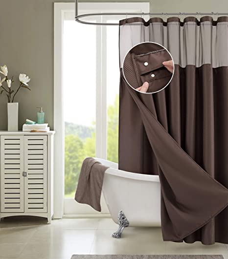 Dainty Home Smart Design Complete 2 In 1 Waffle Weave Hotel Spa Style Fabric Shower Curtain Snap On Off Waterproof Detachable Liner Set 72 Inch Wide X 72 Inch Long Chocolate Brown