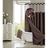 Dainty Home Smart Design Complete 2 in 1 Waffle Weave Hotel Spa Style Fabric Shower Curtain Snap On/Off Waterproof Detachable