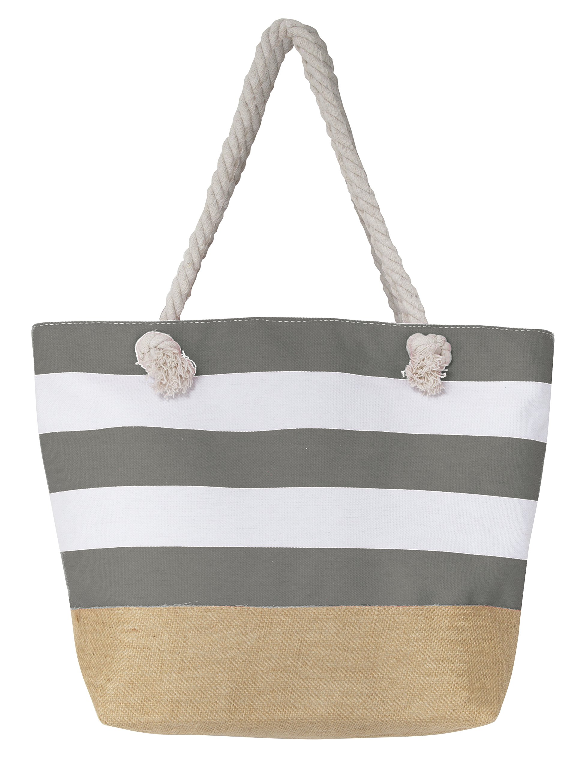 Leisureland Canvas Tote Beach Bag, Water Resistant Shoulder Tote Bag (L20 xH15 xW6, Stripe Gray)