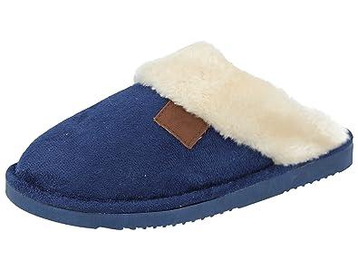 cf9aab7f3a6e Ladies Wicklow Tartan Faux Fur Trim Slip On Mule Slippers Shoes Size 3-8 (