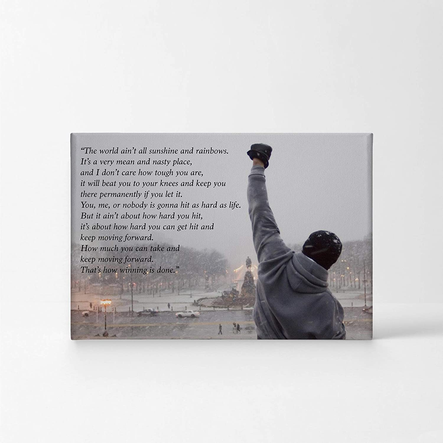 Rocky Balboa Motivational Quote Speech Canvas Print Wall Art Motivational Quote Hope Artwork Sylvester Stallone Living Room Home Decor Wall Art Stretched Ready to Hang Handmade in The USA – 11×17