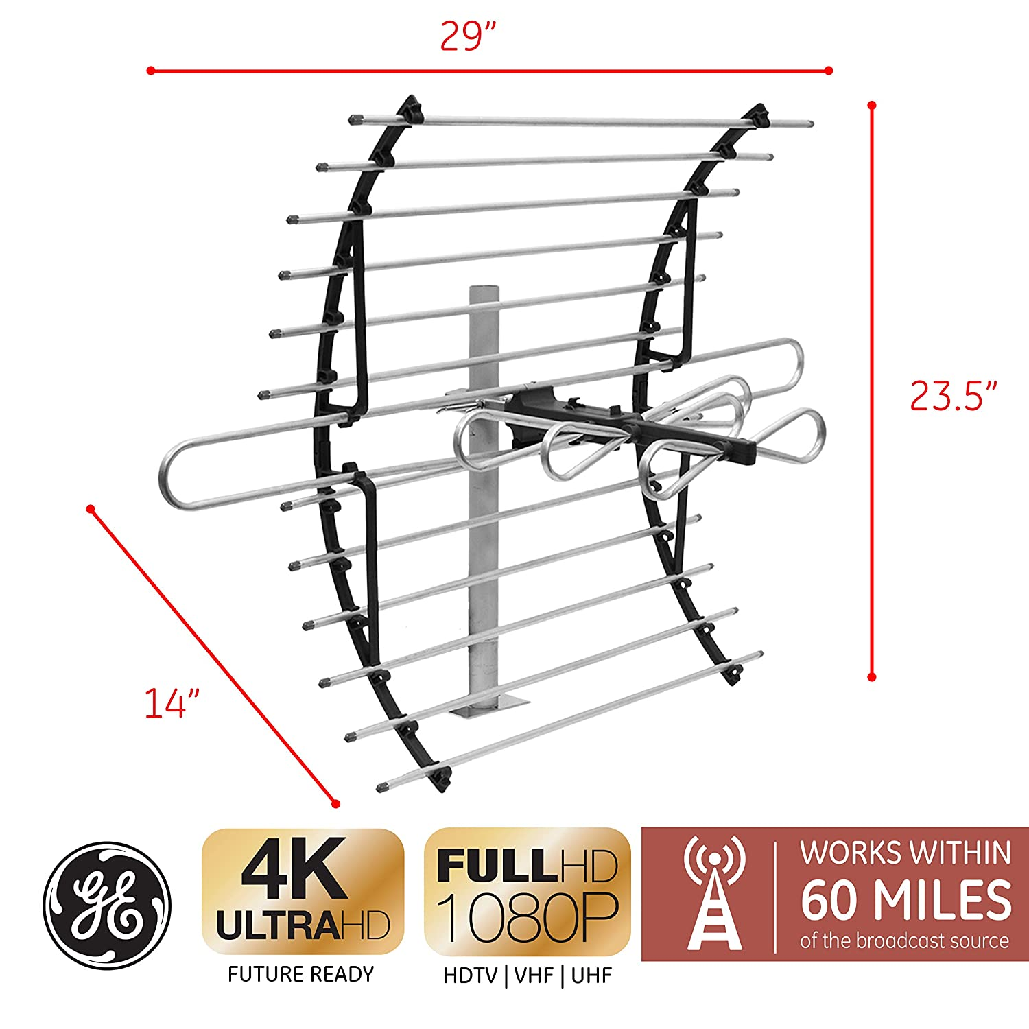 Ge Pro Attic Mount Tv Antenna Long Range Yagi Wiring Diagram Directional Digital Hdtv 4k 1080p Vhf Uhf Compact Design