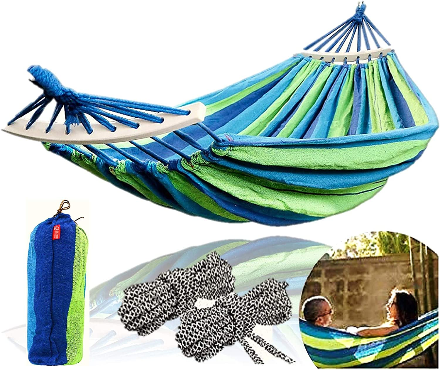 Hammock Portable Camping Cotton Canvas Indoor Outdoor Tree Garden Balcony Beach Backyard Hiking Outdoor Backpacking and Travel Swing Bed with Spreader Bar Travel