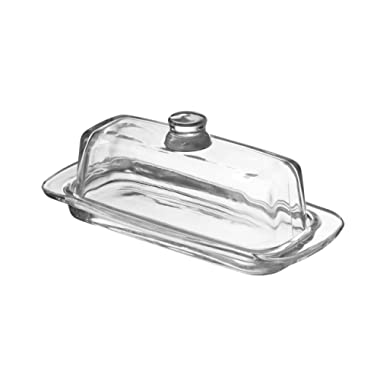 Fisher Glass Butter Dish with Handled Lid (Rectangular) Classic Covered 2-Piece Design | Clear, Traditional Kitchen Accessory | Dishwasher Safe