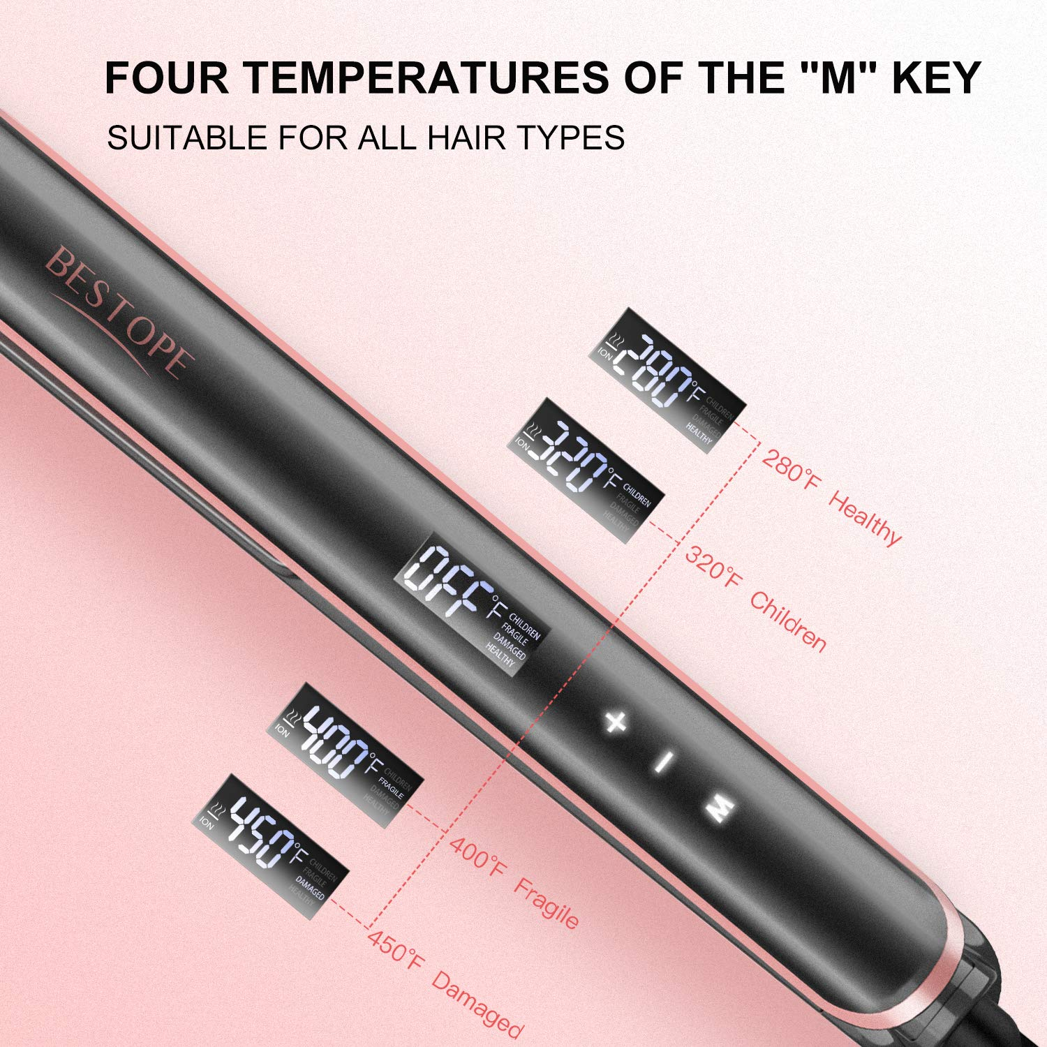 1 Inch Hair Straightener Professional Flat Iron for Hair with MCH Technology