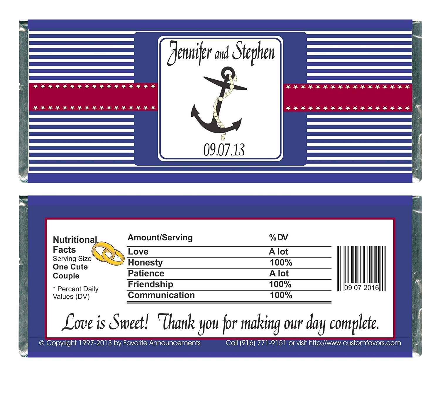 W711 Personalized Favors Nautical set of 12 Fits a Chocolate Bar Anchor or Boat Wedding Candy Bar Wrapper