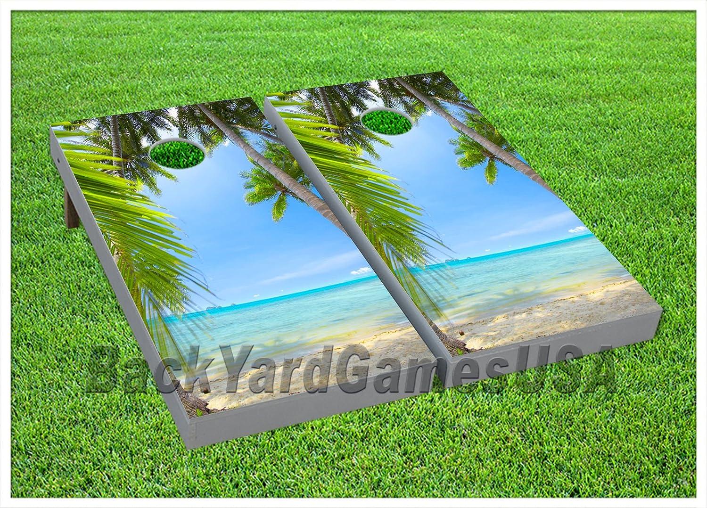Tropical Beach Sun Ocean CORNHOLE BEANBAG TOSS GAME w Bags Game Boards Set 829