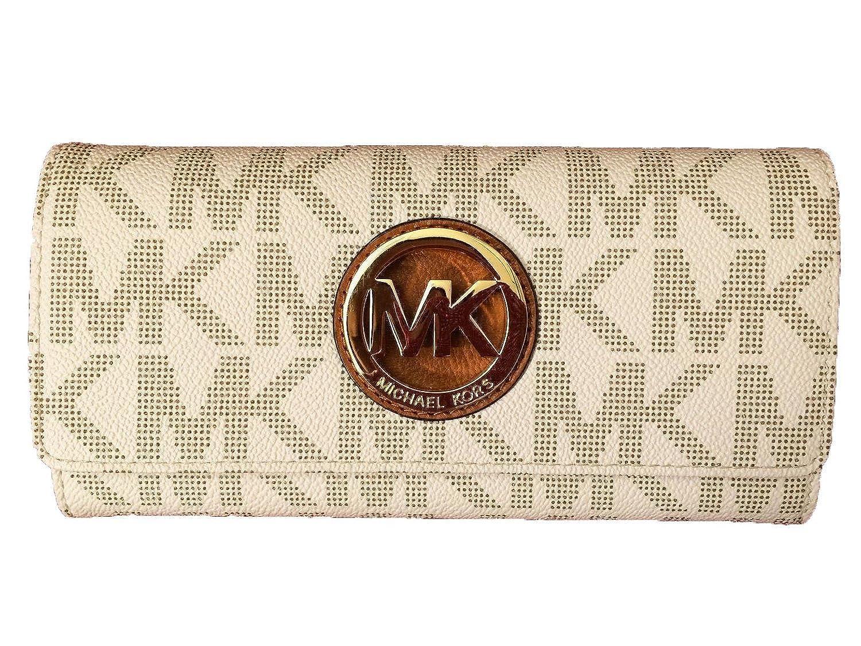 823b4b912143 Michael Kors Fulton Flap Signature MK Vanilla PVC Clutch Wallet: Handbags:  Amazon.com