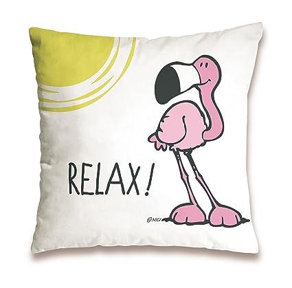 Nici 41943 Flamingo Cojín de algodón Relax, 37 x 37 cm ...