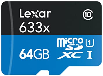 Lexar High-Performance microSDXC 633x 64GB UHS-I Card w/SD Adapter - LSDMI64GBBINL633A Micro SD Cards at amazon