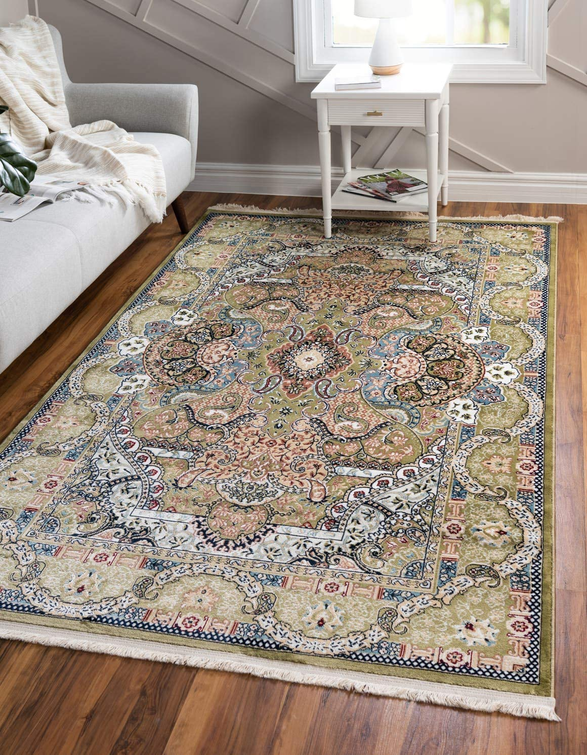 Unique Loom Narenj Collection Classic Traditional Medallion Textured Green Area Rug 3 0 x 5 0