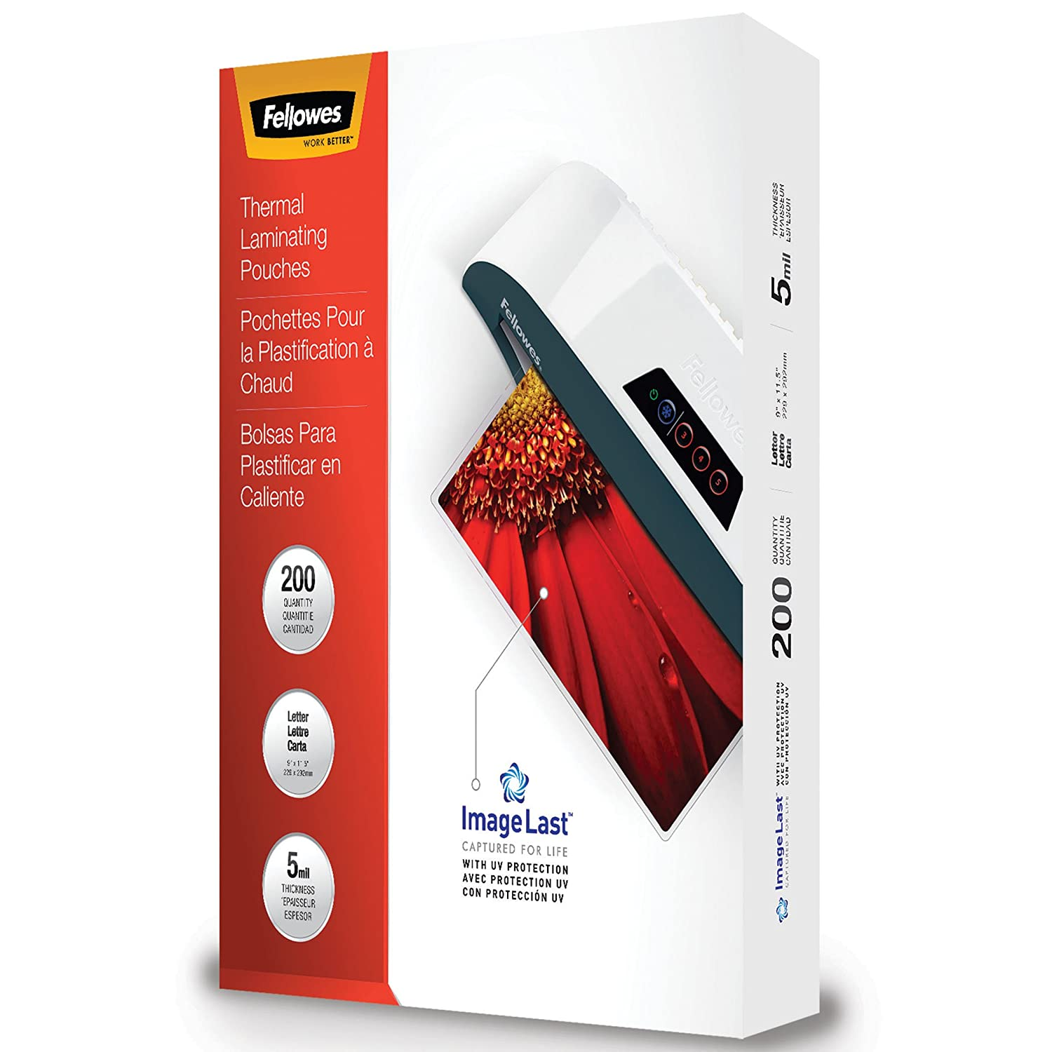 Fellowes Thermal Laminating Pouches, Image Last, Jam Free, Letter Size, 5 Mil, 200 Pack 5245301