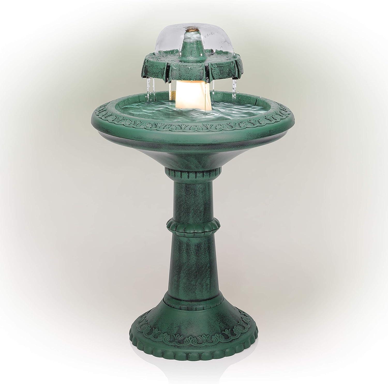 """Alpine Corporation 37"""" Outdoor 2-Tier Classic Garden Water Floor Fountain and Birdbath"""