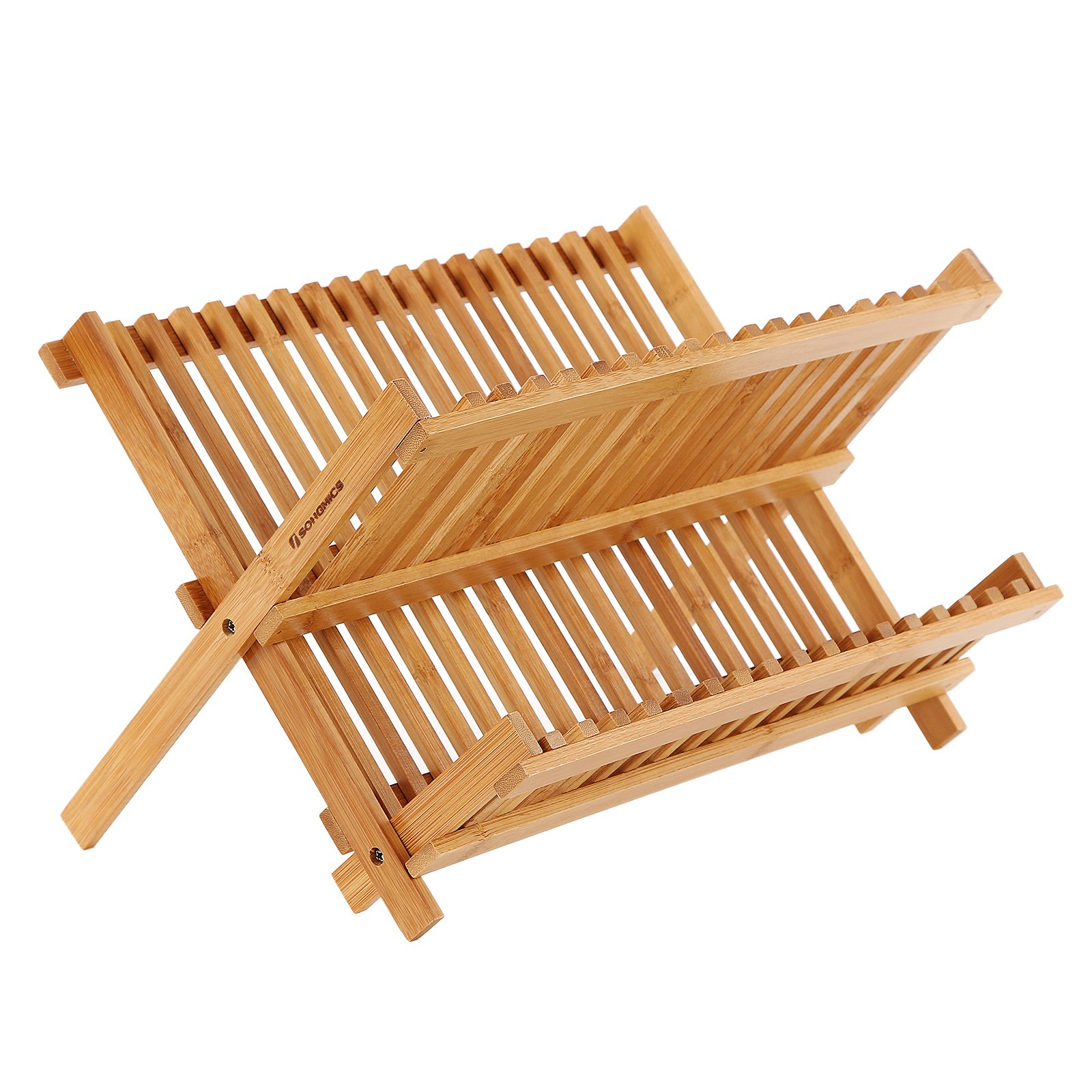 SONGMICS 100% Bamboo Dish Drying Rack,18 Slot Collapsible 2-tier Dish Cup Holder,Folding Utensil Drainer,Holds 18 Dish 3-6 Cups for Kitchen Restaurant UKAB901
