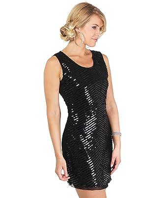 4230-BLK-ML: 20er Jahre Party Kleid Pailetten: Amazon.de: Bekleidung