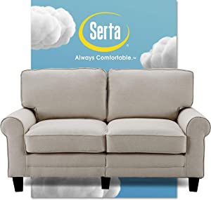 "Serta Copenhagen Sofa Couch for Two People, Pillowed Back Cushions and Rounded Arms, Durable Modern Upholstered Fabric, 61"" Loveseat, Light Gray"