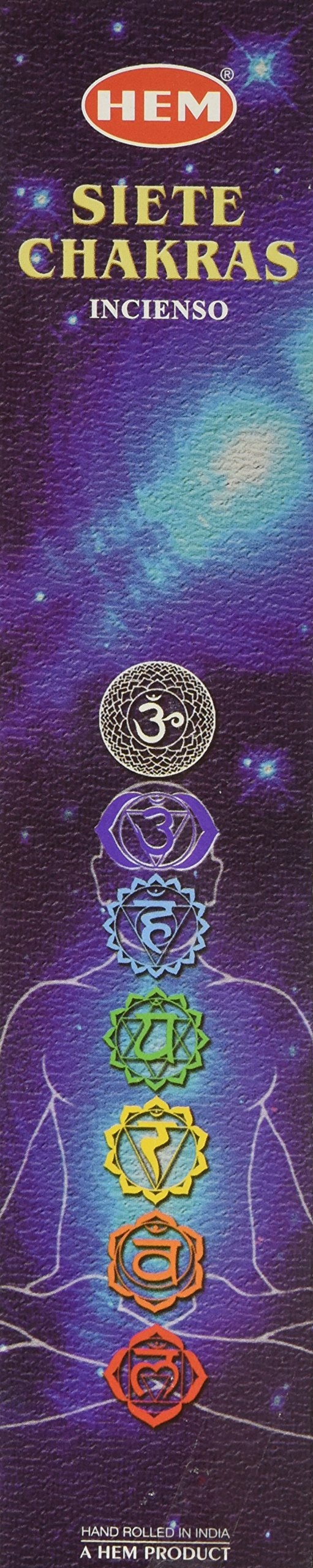Seven Chakras - 35 Gram Box, 7 Difference Incense - From HEM