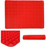 """Professional Heat-Resistant Pyramid Silicone Baking Mat Cooking Sheets for Biscuits, Chicken and more Fuctions Non-stick Fat-reducing 16"""" x 11.5"""""""
