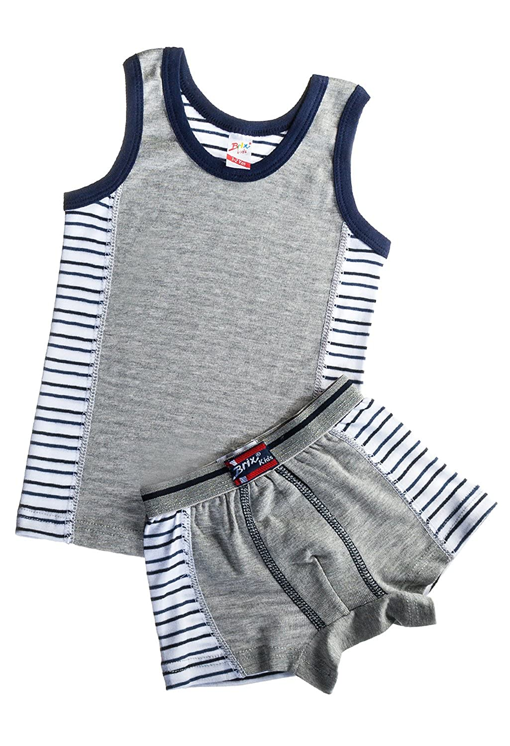 Kids by Brix Soft Turkish Cotton Boys Tank Top and Boxer Brief Colorblock Set 9704