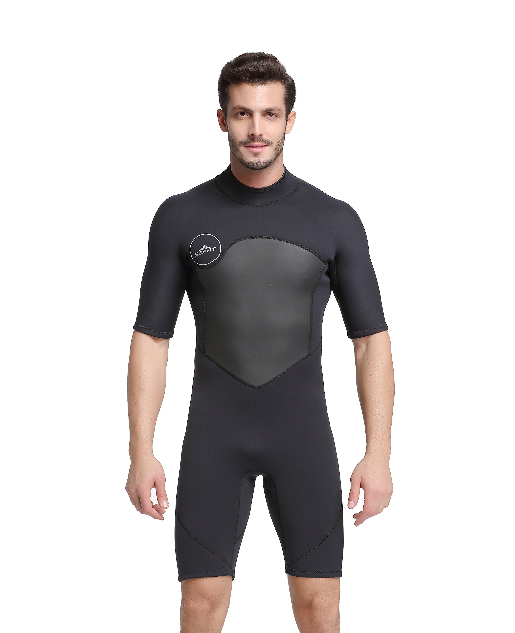 Unisex Short Sleeve 2MM Neoprene Wetsuit Men for Surfing One Piece Triathlon Scuba Diving Spearfishing Wetsuit Women Surfing (1069Black, M) by Shorty Wetsuit