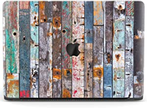 Mertak Hard Case for Apple MacBook Pro 16 Air 13 inch Mac 15 Retina 12 11 2020 2019 2018 2017 Print Shell Cover Plastic Design Retro Girl Colorful Clear Rustic Wooden Planks Grunge Protective Laptop
